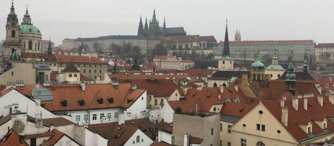 Praha, hrad, střechy, Česko